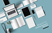 Top View Office Stationery And Objects Mockup