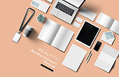 Realistic Top View Office Stationery And Objects Mockup