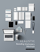 Realistic Branding and Identity Stationery Set