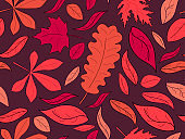 Autumn seamless pattern with leaves. Red falling leaves, leaf fall. Background for wrapping paper, print, fabric and printing. Vector illustration