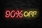 Vector realistic isolated neon sign of Neon Sale Discount 90 Percent icon for template decoration on the wall background. Concept of Black Friday and winter holidays.