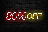 Vector realistic isolated neon sign of Neon Sale Discount 80 Percent icon for template decoration on the wall background. Concept of Black Friday and winter holidays.