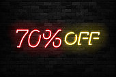 Vector realistic isolated neon sign of Neon Sale Discount 70 Percent icon for template decoration on the wall background. Concept of Black Friday and winter holidays.