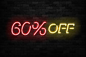 Vector realistic isolated neon sign of Neon Sale Discount 60 Percent icon for template decoration on the wall background. Concept of Black Friday and winter holidays.