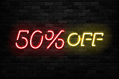 Vector realistic isolated neon sign of Neon Sale Discount 50 Percent icon for template decoration on the wall background. Concept of Black Friday and winter holidays.