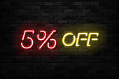 Vector realistic isolated neon sign of Neon Sale Discount 5 Percent icon for template decoration on the wall background. Concept of Black Friday and winter holidays.