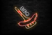 Vector realistic isolated neon sign of BBQ symbol for template decoration on the wall background. Concept of barbecue grill.