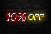 Vector realistic isolated neon sign of Neon Sale Discount 10 Percent icon for template decoration on the wall background. Concept of Black Friday and winter holidays.