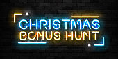 Vector realistic isolated neon sign of Christmas Bonus Hunt logo for decoration and covering on the wall background. Concept of Christmas bonus in casino and free spins.