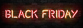 Vector realistic isolated neon sign of Black Friday logo for template decoration and invitation covering on the wall background. Concept of sale and discount.