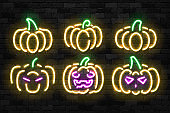 Vector set of realistic isolated neon sign of Pumpkin icon for template decoration and invitation covering on the wall background. Concept of Halloween and Thanksgiving day.