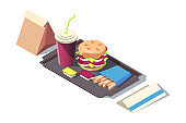 3d isometric fast food of soda, burger, french fries on tray.