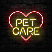 Vector realistic isolated neon sign of Pet Care icon for template decoration and mockup covering on the wall background. Concept of pet shop and veterinary.
