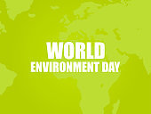 World environment day. Text on a green background with the continents of the planet Earth. Eco poster. Vector illustration