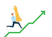 Businessman Running on Growth Arrow