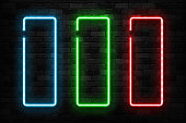 Vector set of realistic isolated neon sign of frame for template and layout on the wall background.