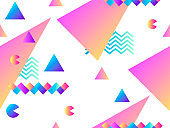Seamless pattern with geometric shapes and gradient. Background for promotional materials. Vector illustration