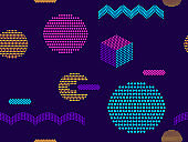 Seamless pattern with geometric shapes and dots in pop art style, colorful modern trendy background. Vector illustration
