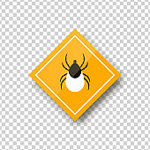 Vector realistic isolated ixodes tick warning sign for template decoration and covering on the transparent background. Concept of mite danger, disease and encephalitis precaution.