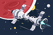 Concept full speed big spaceship station on space planet and star background.
