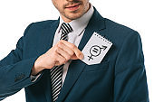 cropped view of businessman with gender equality symbol in suit, isolated on white