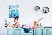 Woman levitating in air