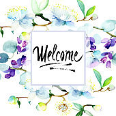 Bouquet flowers watercolour drawing. Watercolor background illustration set. Frame border square. Welcome calligraphy