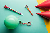 Top view of party decoration, green balloon on tiffany background