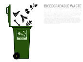 Biodegradable waste icon is falling in to the bin