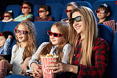 Mother and daughter in 3d glasses eating popcorn in cinema