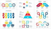 Vector infographic set with pyramid, circles, arrows and other abstract elements with 3, 4 and 5 options, steps or parts.