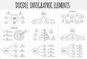 Doodle infographic set with pyramid, goal, circles and other abstract elements. Hand drawn icons. Thin line illustration.
