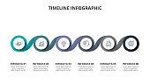 Creative concept for infographic timeline. Process chart. Abstract elements of graph, diagram with 6 steps, options, parts or processes. Vector business template for presentation.