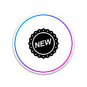 Label New sign isolated on white background. Circle white button. Vector Illustration
