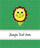 cute lion greeting card vector
