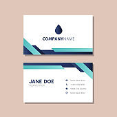 gradient blue geometrical shapes business card design