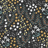 Vector floral seamless pattern with abstract flat doodle elements such as plants, flowers, berries and grass. Forest nature background
