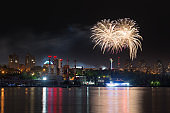Fireworks in Rostov on Don Panorama of Don river, Russia