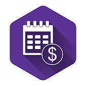 White Financial calendar icon isolated with long shadow. Annual payment day, monthly budget planning, fixed period concept, loan duration. Purple hexagon button. Vector Illustration