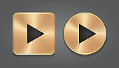 Gold metalic Play button, set app icons.