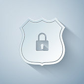 Paper cut Shield security with lock icon isolated on grey background. Protection, safety, password security. Firewall access privacy sign. Paper art style. Vector Illustration