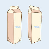 Hand drawn milk package. Illustration of a pack of dairy products.