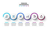 Vector infographic circle design template with icons. Can be used for process diagram, presentations, workflow layout, banner, flow chart, info graph with 6 options or steps.