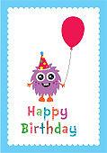 cute monster happy birthday greeting card vector