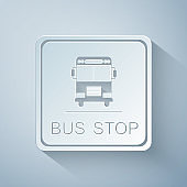 Paper cut Bus stop icon isolated on grey background. Paper art style. Vector Illustration