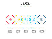 Thin line flat circles for infographic with 5 options, parts, steps or processes. Template for diagram, graph, presentation and chart. Line icons