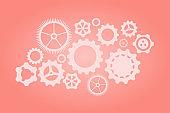 Set of gears. Gears on a pink coral colors background. Vector illustration. Working gear. Machinery gear. Pin gear. Progresiruet gear.