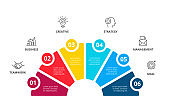 Vector infographic circles with icons and 6 options or steps. Infographics for business concept. Can be used for presentations banner, workflow layout, process diagram, flow chart, info graph.