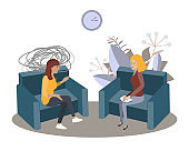 Psychotherapy session vector illustration. Woman psychologist and woman patient, society psychiatry concept
