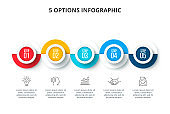 Abstract infographics number options template. Timeline presentation with 5 options, parts or processes.